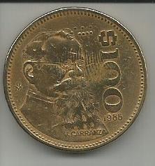Moneda mexicana, un peso. portada de Don Venustiano Carranza, Revolución mexicana y Presidente de México.