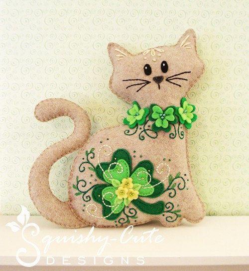 Stuffed Animal Pattern - Felt Plushie Sewing Pattern & Tutorial - Shamrock the St. Patrick's Day Cat - Embroidery Pattern PDF $4.00