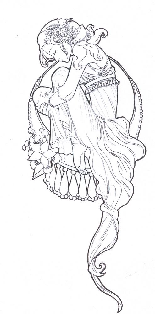 Art nouveau girl coloring page