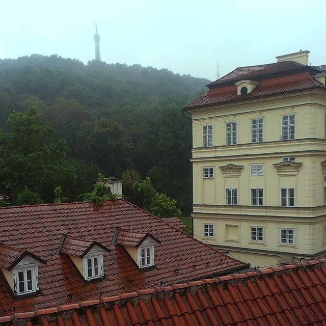 Even though it is a #rainy #morning in #Prague and the #Petrin #tower is hiding itself in #clouds, there are plenty of other #sights to #enjoy within the #city. ☁ (#View from our #top #terrace.) #sightseeing #rainyday #goodmorning #petrintower #hotel #hotelsax #oldtown #czechrepublic