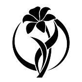 pochoir fleur : Silhouette noire de fleur de lys Vector illustration