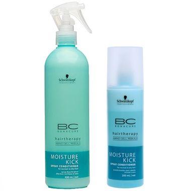 Schwarzkopf BC Bonacure Moisture Kick Spray Condicionador desembaraça e suaviza a superfície do cabelo. Proporciona um cabelo suave, flexível, hidratado e com máximo brilho e movimentação.