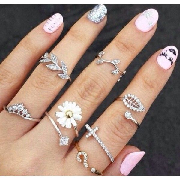 Jewels: nail accessories ring cute ring flowers cross leaves nature... ❤ liked on Polyvore featuring jewelry, rings, long knuckle ring, mid-finger rings, midi rings, mid knuckle rings e pink ring