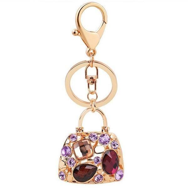 Popular Crystal Bag-like Zinc Alloy Key Chain Handbag Key Ring Pendant