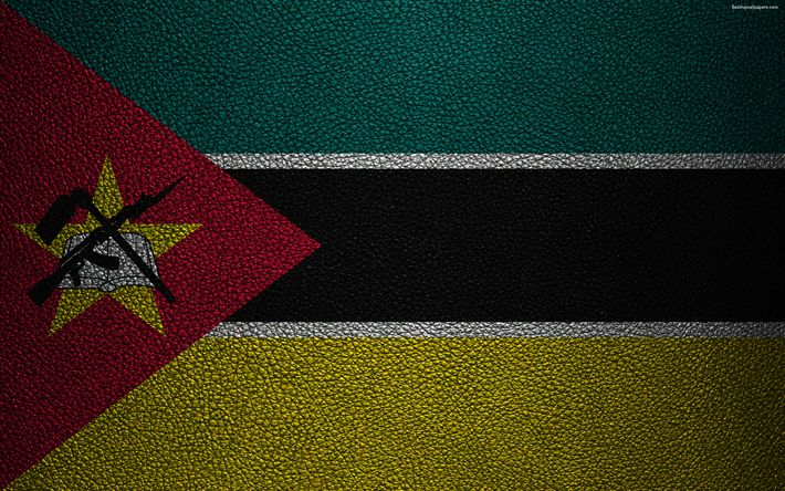 Download wallpapers Flag of Mozambique, 4K, leather texture, Africa, Mozambican flag, African flags, Mozambique