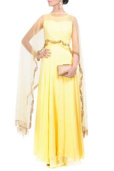 Bright Yellow Gown With Embroidered Long Cape by Anju Agarwal, Western Gowns