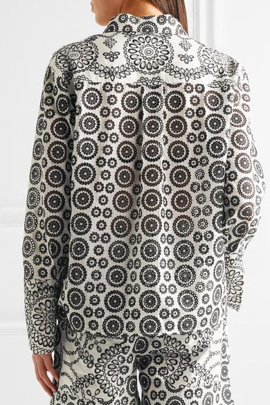 Topshop Unique - Cleary Broderie Anglaise Cotton Shirt - Off-white - UK14