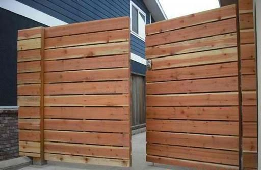 1x6 redwood modern horizontal privacy driveway gates, with electric combo deadbolt #2.jpg; (before staining).jpg;  Marine Ave. Manhattan Beach 90266