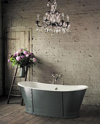 Love it all!!!: Chandelier, Brick Wall, Bathtubs, Rustic Bathroom, Dreams Bathroom, Bathroom Lights, Bathroom Ideas, Shabby Chic Bathroom, Expo Brick