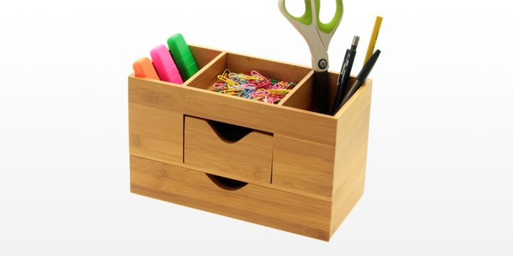 Desk Tidy is perfect to hold your stationery, notes and cards. Features drawers and 3 compartments. Made of eco-friendly bamboo.