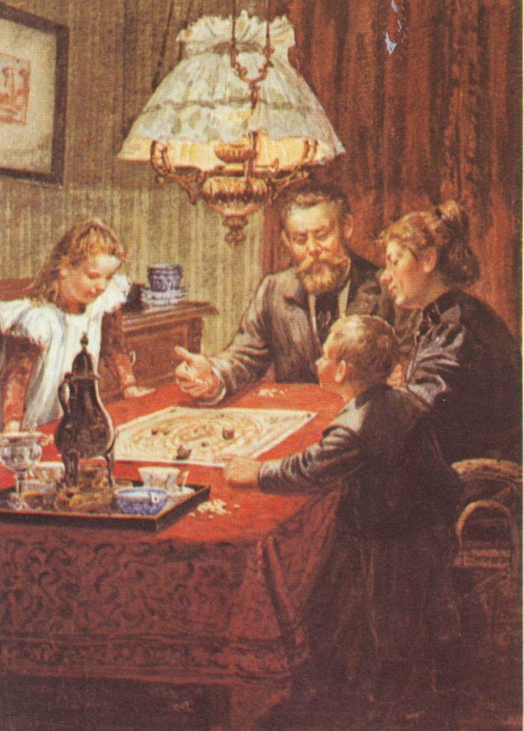 Sinterklaasavond met spelletjes, door Cornelis Jetses in Dicht bij huis van Jan Ligthart (1902). In België gaat het nog steeds zo, maar in Nederland werd na de Tweede Wereldoorlog 'Pakjesavond' algemeen.