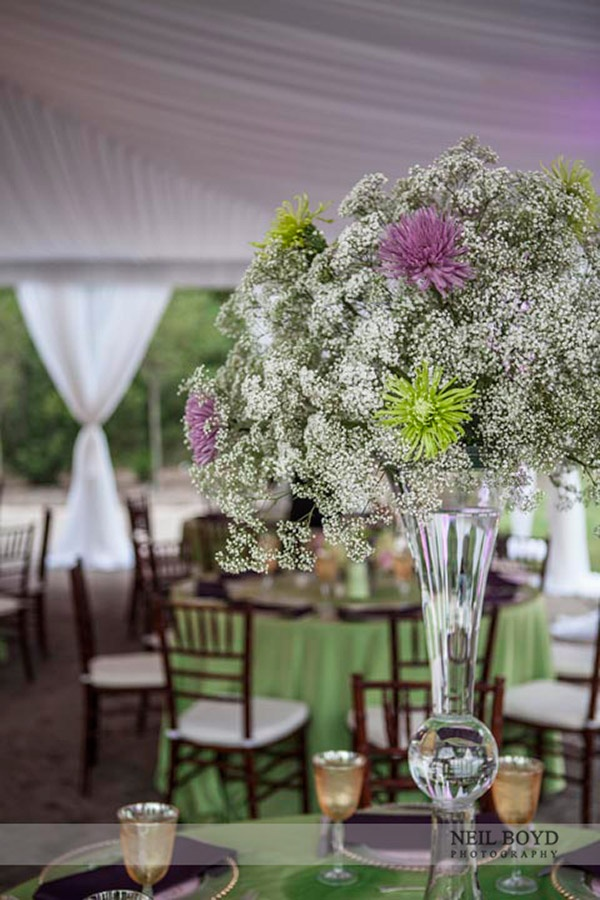 100 best wedding centerpieces images on pinterest weddings love the babys breath with purple and green fleurtations weddings events in raleigh nc junglespirit Images