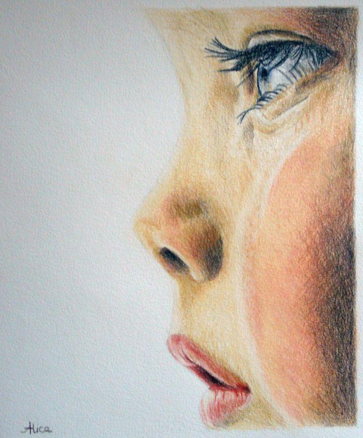Essuie tes larmes, dessin aux crayons de couleur par Alice Gerfault