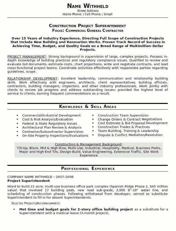 Construction Foreman Resume Examples - Examples of Resumes