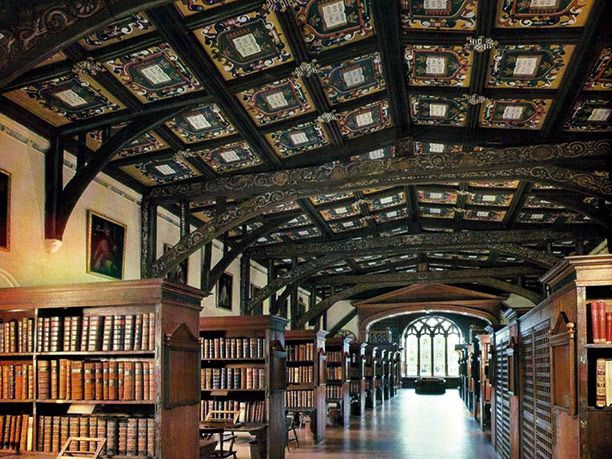 House of learning: inside the oldest section of the Bodleian Library, built in 1487. Bodleian Library, Oxford.