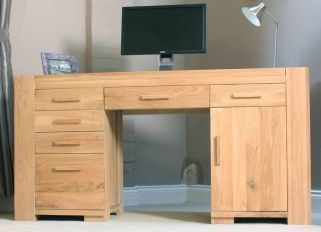 atlas chunky oak hidden home. baumhaus atlas oak twin pedestal home office desk chunky hidden n