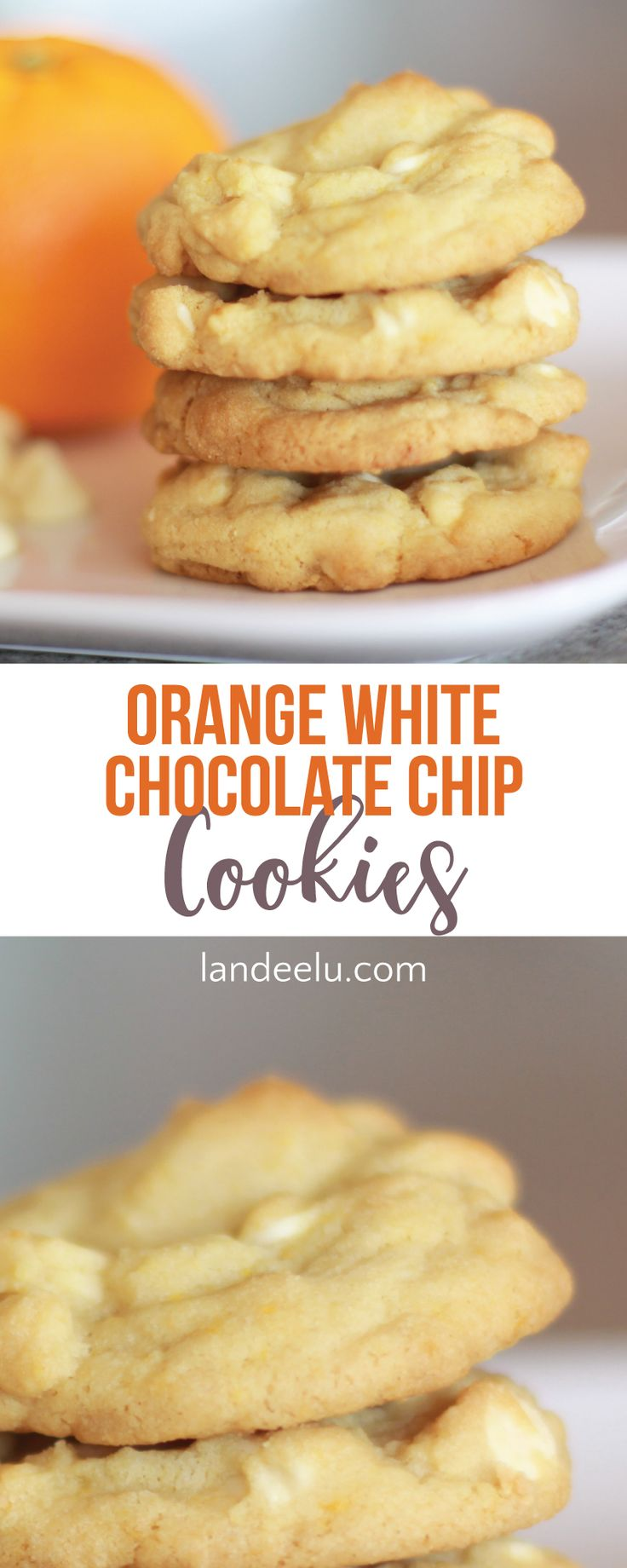 A hint of orange in this white chocolate chip cookie recipe is all you need to make them divine! Like an orange roll but in cookie form. Yum!