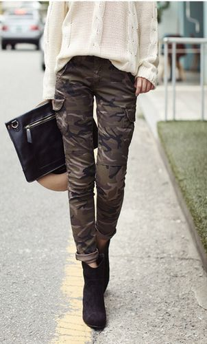 Camo pants with a beautiful blouse....CAbi's Clover Camo Jeggings with the Silk Shirt from F 12??!!