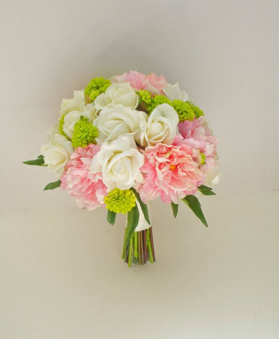 light pink and chartreuse wedding | ... '', (Pink, Ivory, Green, Chartreuse) Real Touch Peony Wedding Bouquet