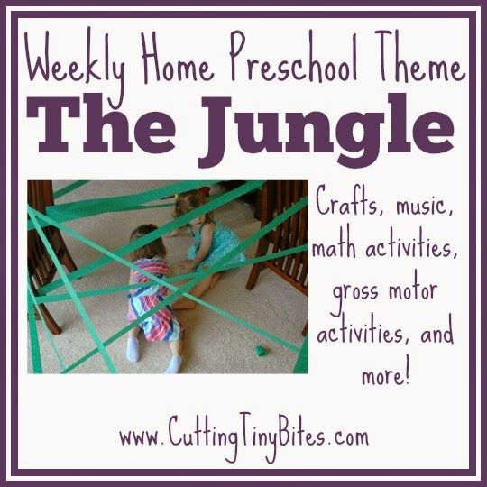 Jungle Theme Weekly Home Preschool.  Math, crafts, gross motor activities, picture books, movies, fine motor activities and more for a jungle theme or rainforest unit!  Perfect amount of EASY activities for one week of home preschool.