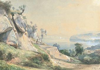 giacinto gigante (1806-1876) - sorrento, 1869, watercolour and gouache on paper, 26.8 x 37.8 cm.