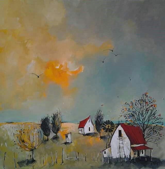 'Crisp autumn days' Acrylic and mixed media on canvas by artist Glendine