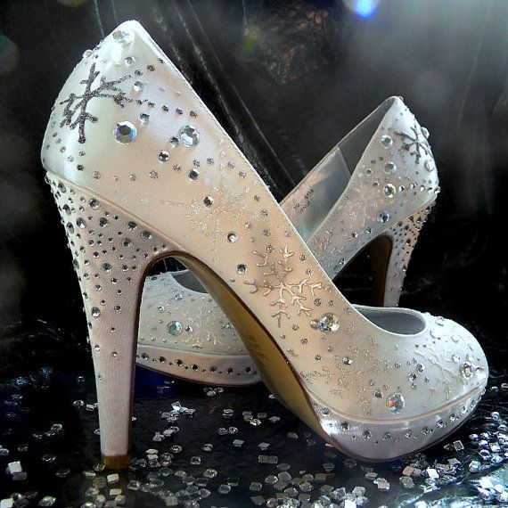 These painted snowflake shoes would be perfect for a winter wedding