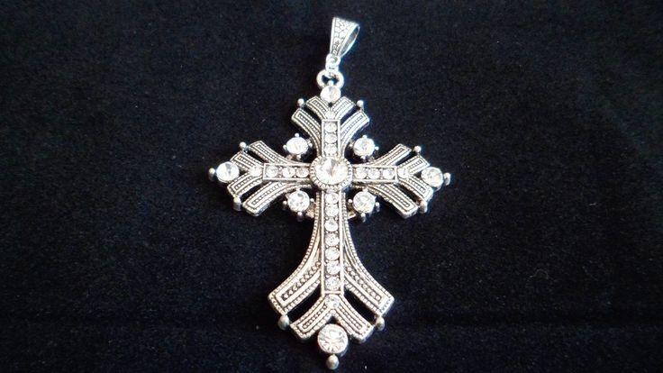 Pendentif Croix Serti des Strass Transparent 8 cm : Croix par centilancias