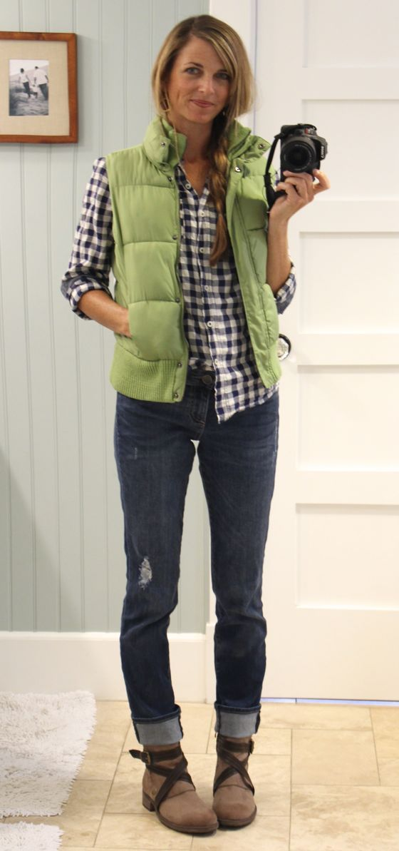 cozy for fall - navy gingham shirt, lime green puffy vest, cuffed boyfriend jeans with ankle boots