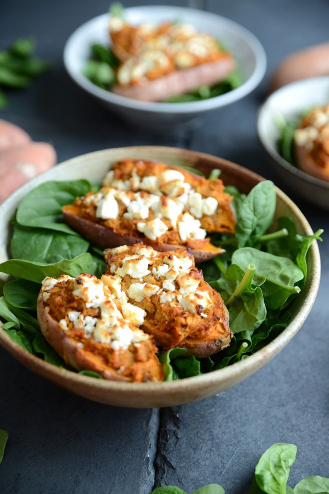 Waffle & Whisk: 10 Minute Jacket Sweet Potatoes with Curried Tuna and Feta