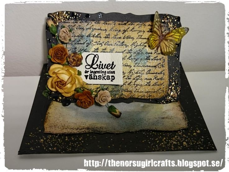 """A black #easelcard #embossing #distress ink """"special card fold"""