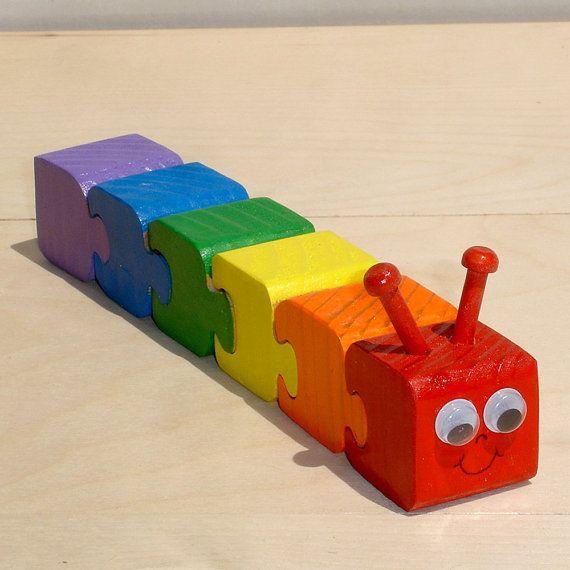 Puzzle 3d en bois pour enfants de chenille arc-en-ciel