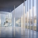 Louvre Lens by SANAA. The 360 meter long, steel and glass structure is integrated within a 20 hectare wasteland that was originally used as a coal mine before the 1960s. It is expected to attract 500,000 visitors every year and envisioned to help revitalize the post-industrial town. The facades are in polished aluminium, in which the park is reflected, ensuring continuity between the museum and the surrounding landscape.