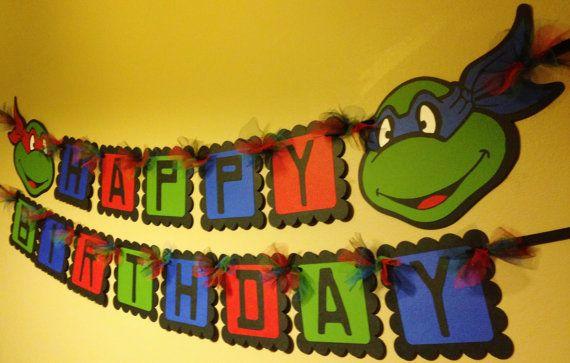 Ninja Turtles Happy Birthday Banner by PaperPiecingDreams on Etsy