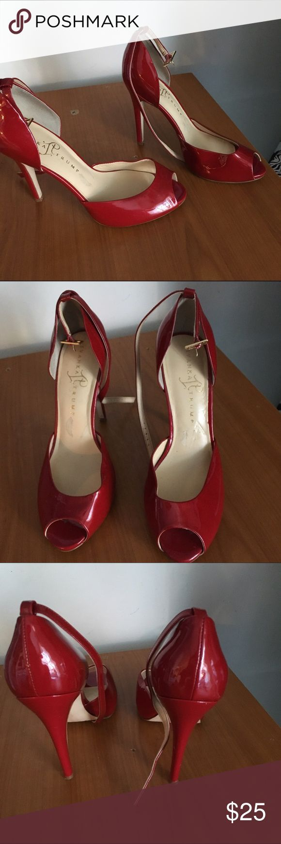 ⚡Sale⚡Ivanka Trump Red Patent Leather Heels 🔴1 Hr Flash sale 🔴 Price reduced and is fudm🔴 In very good condition. Does have some minor nics on the heel part. Buckles around ankle. Heel height is approx 5 inches. Ivanka Trump Shoes Heels