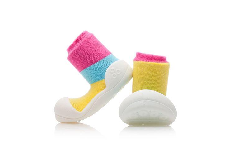 Buciki - skarpetki dla niemowlaków Attipas Together Pink