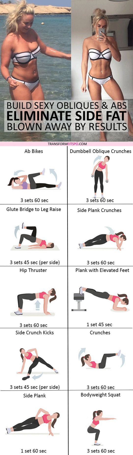 #womensworkout #workout #femalefitness Repin and share if this workout destroyed your side fat! Click the pin for the full workout. #abexercises
