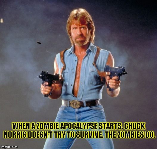 chuck norris | WHEN A ZOMBIE APOCALYPSE STARTS, CHUCK NORRIS DOESN'T TRY TO SURVIVE. THE ZOMBIES DO. | image tagged in chuck norris | made w/ Imgflip meme maker