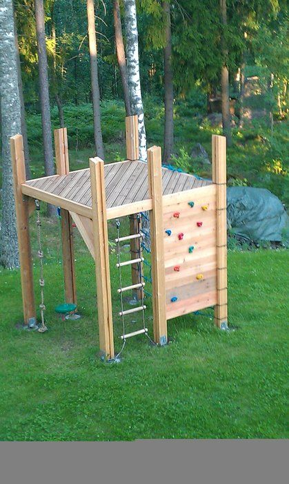 jungle gym- add a slide and a sailcloth roof for shade, rails too