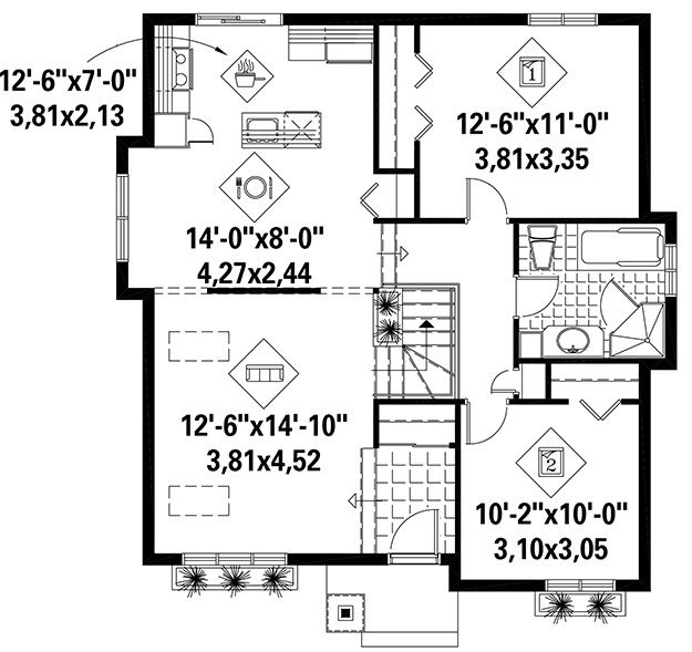 House Plan 6146 00258 Small Plan 958 Square Feet 2 Bedrooms 1 Bathroom Cool House Designs House Plans How To Plan