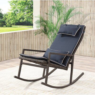 Tremberth Outdoor Rocking Chair with Cushion Cushion Color: Navy
