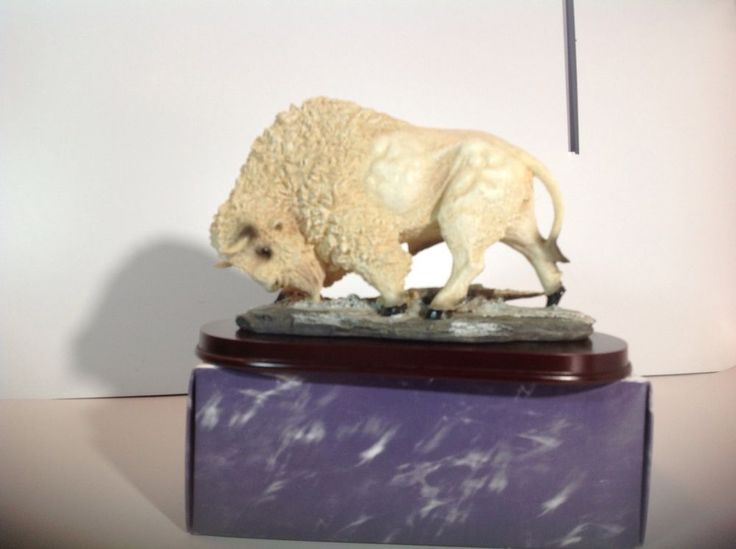 Native American Indian Sacred White Buffalo Bison Statue - SHIPS IMMEDIATELY