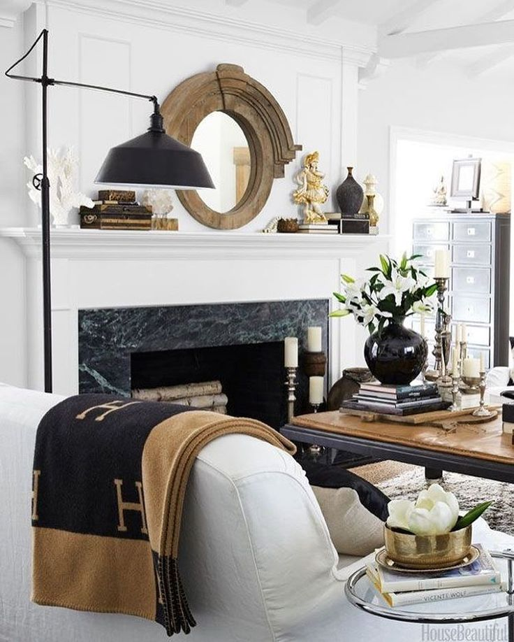 MONDAY: NEUTRAL #adailyvignette#neutral#style#styling#design#decor#inspiration#interior#livingroom#blackandwhite#timberaccents#timber#fireplace#mantledecor#marble#hermes#texture#black#white#neutraldecor#collected