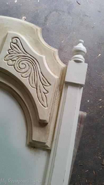 Old Mirror Antique White Distressed