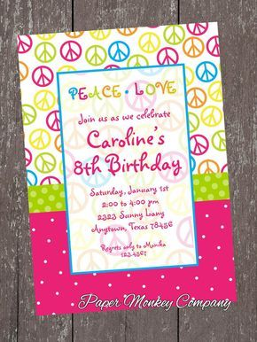 Invitación de cumpleaños de chicas signo de la por PMCInvitations
