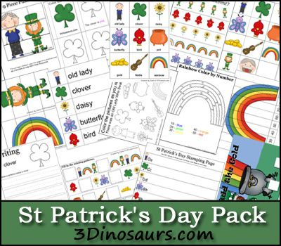 3 Dinosaurs - St. Patrick's Day Pack. Pinned by Generation iKid