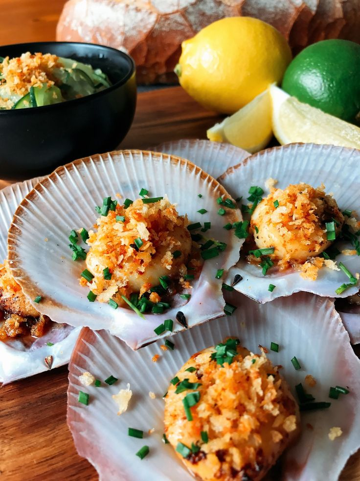 Miso Butter Scallops with Fried Parmesan Panko Crumbs