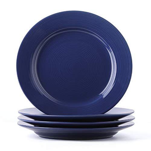 Le Tauci Ceramic Dinner Plate Set 10 Inch For Breakfast Dinner Set Of 4 True Blue All4hiking Com Dinner Plate Sets Plate Sets Dinner Plates