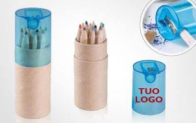 MATITE Set di 12 matite colorate con astuccio tondo in cartone. Coperchio in plastica con tempera matite.