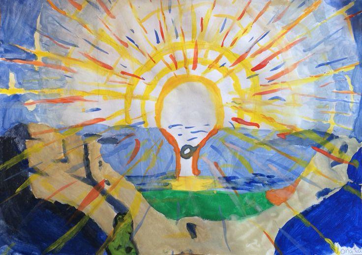 Vattenfärg av Munch i universitetsaulan.